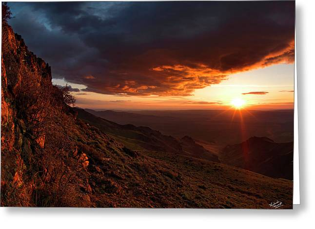 Greeting Card featuring the photograph Oregon Mountains Sunrise by Leland D Howard