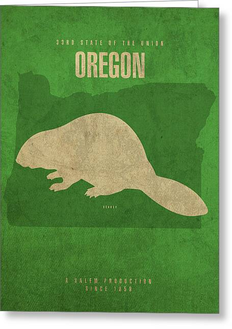 Oregon State Facts Minimalist Movie Poster Art Greeting Card by Design Turnpike