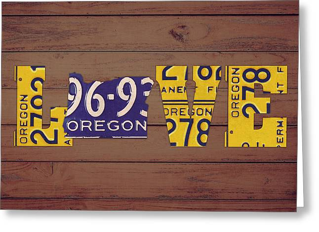 Oregon State Love Heart License Plates Art Phrase Greeting Card