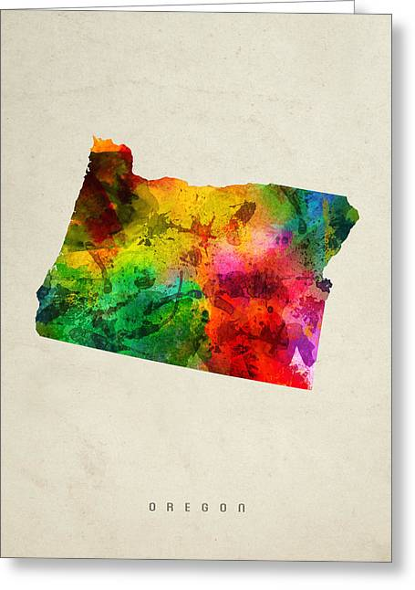 Oregon State Map 01 Greeting Card by Aged Pixel