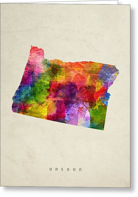 Oregon State Map 02 Greeting Card by Aged Pixel