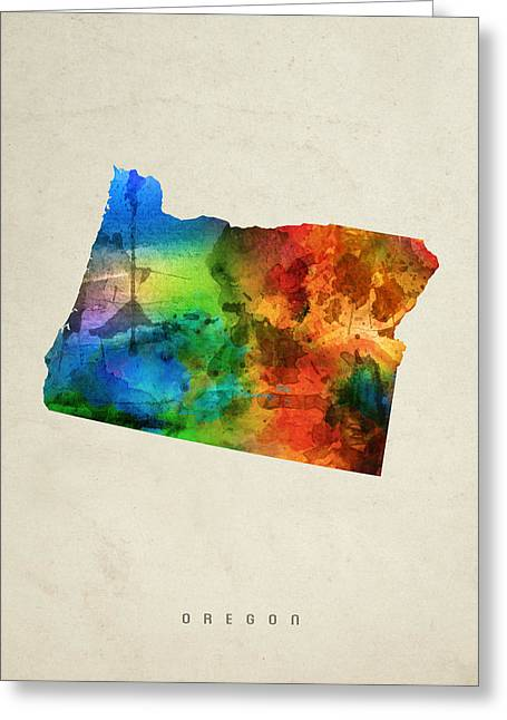 Oregon State Map 03 Greeting Card by Aged Pixel