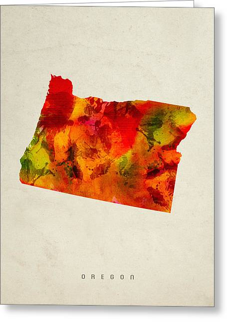 Oregon State Map 04 Greeting Card by Aged Pixel