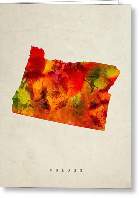 Oregon State Map 04 Greeting Card