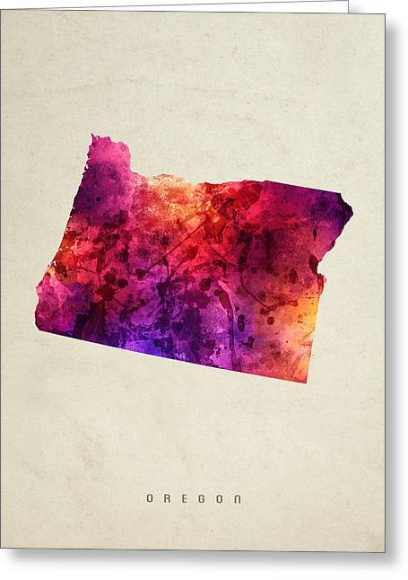 Oregon State Map 05 Greeting Card by Aged Pixel