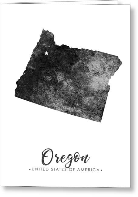 Oregon State Map Art - Grunge Silhouette Greeting Card