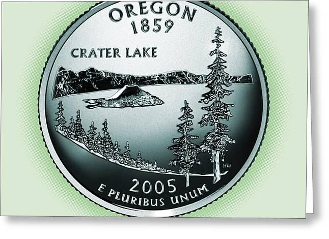 Oregon State Quarter - Portrait Coin 33 Greeting Card by Garrett Burke