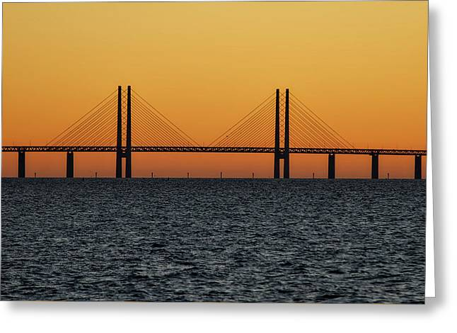 Oresund Bridge At Sunset Greeting Card by Teresita Garit