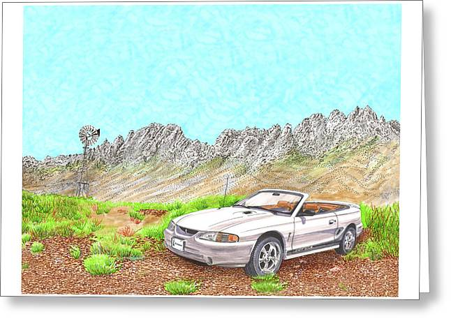 Greeting Card featuring the painting Organ Mountain Mustang by Jack Pumphrey