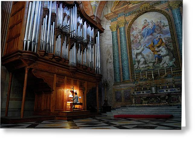 Organ Player In Saint Mary Of The Angels Basilica Rome Greeting Card by Reimar Gaertner