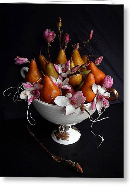 Organic Bosc Pears And Magnolia Blossoms Greeting Card