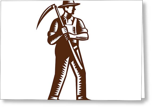 Organic Farmer Holding Scythe Woodcut Greeting Card