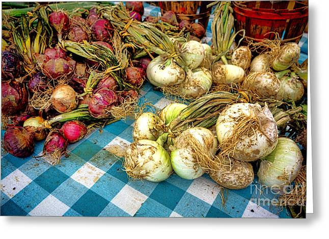 Organic Onions At A Farm Market Greeting Card by Olivier Le Queinec