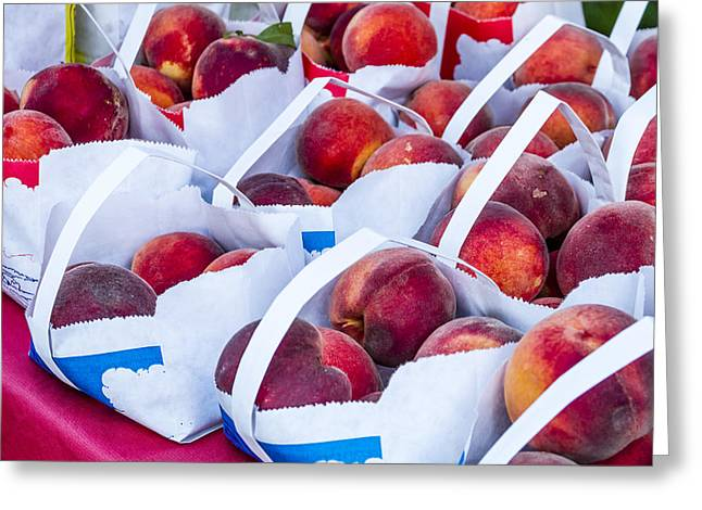 Organic Peaches At The Market Greeting Card by Teri Virbickis