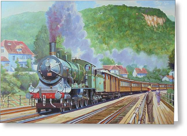 Greeting Card featuring the painting Orient Express 1920 by Mike Jeffries