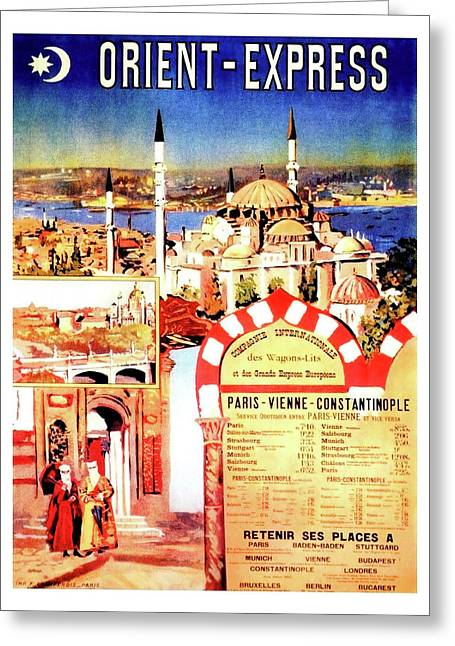 Orient Express, Istanbul, Vintage Travel Poster Greeting Card