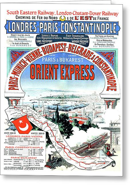 Orient Express Railway Route, Travel Poster Greeting Card