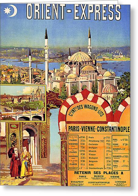 Orient Express, Railway, Vintage Travel Poster Greeting Card
