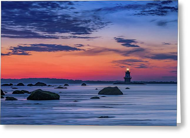 Orient Point Lighthouse At Dawn Greeting Card by Rick Berk