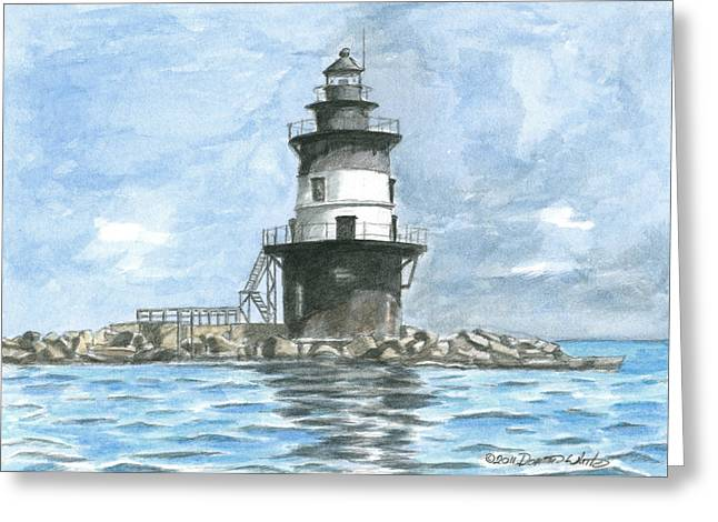Long Island Paintings Greeting Cards - Orient Point Lighthouse Greeting Card by Dominic White