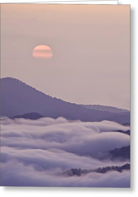 Oriental Blue Ridge Sunrise Greeting Card by Rob Travis