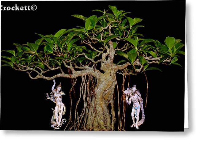Greeting Card featuring the digital art Oriental Bonsai Gods by Gary Crockett