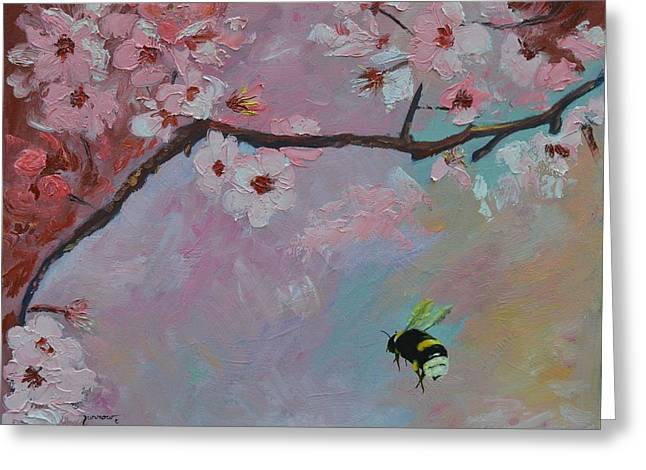 Oriental Cherry Greeting Card by Sue Furrow