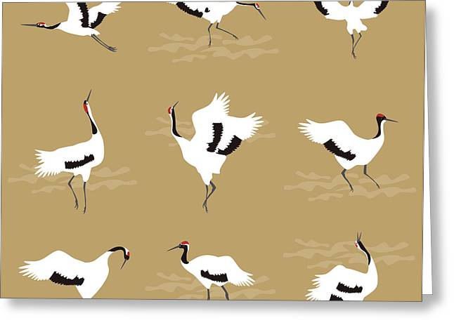 Oriental Cranes Greeting Card