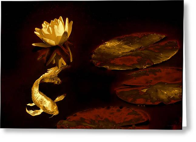 Oriental Golden Koi Fish And Water Lily Flower Greeting Card