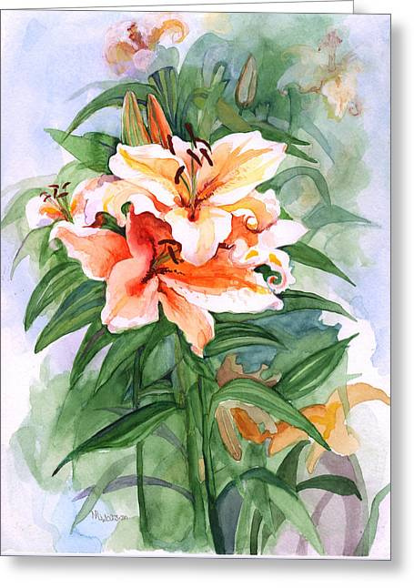 Greeting Card featuring the painting Oriental Lilies by Nancy Watson