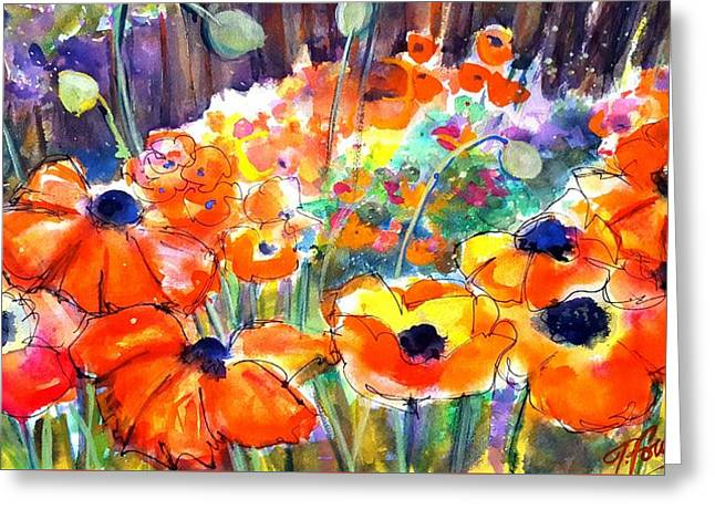 Oriental Poppies Behind Lindas Greeting Card by Therese Fowler-Bailey