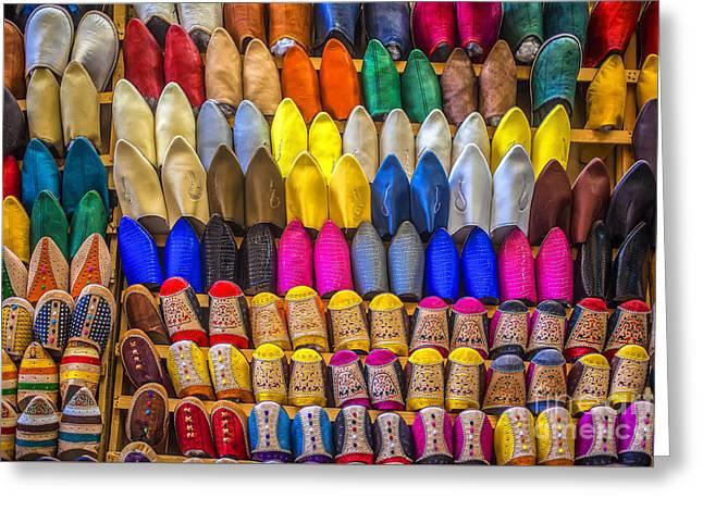 Oriental Shoes On Display Greeting Card by Patricia Hofmeester