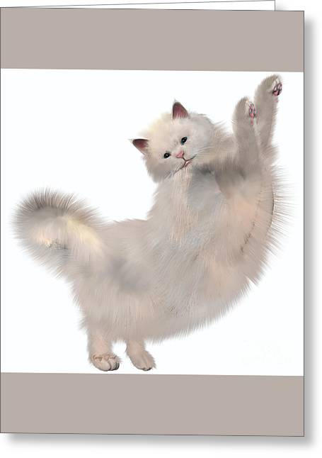 Oriental White Cat Greeting Card by Corey Ford