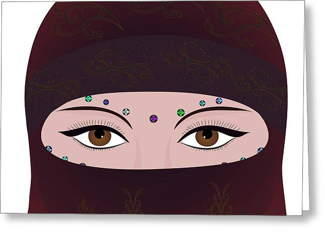Oriental Woman In Hijab Face Cover Greeting Card by Aliaksei Putau