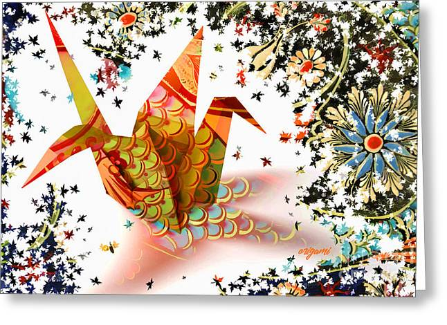 Greeting Card featuring the digital art Origami 2017 by Kathryn Strick