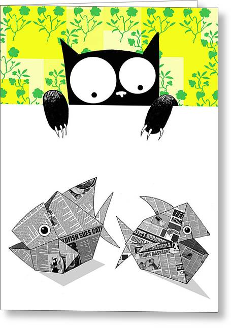Origami Fish Greeting Card by Andrew Hitchen