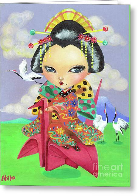 Origami Girl Greeting Card