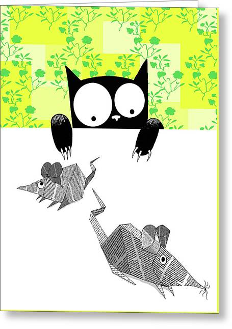 Origami Mice  Greeting Card by Andrew Hitchen