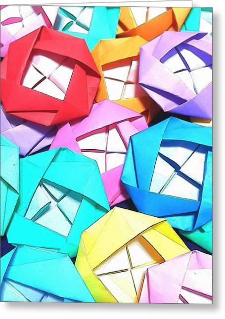 Origami Roses Greeting Card