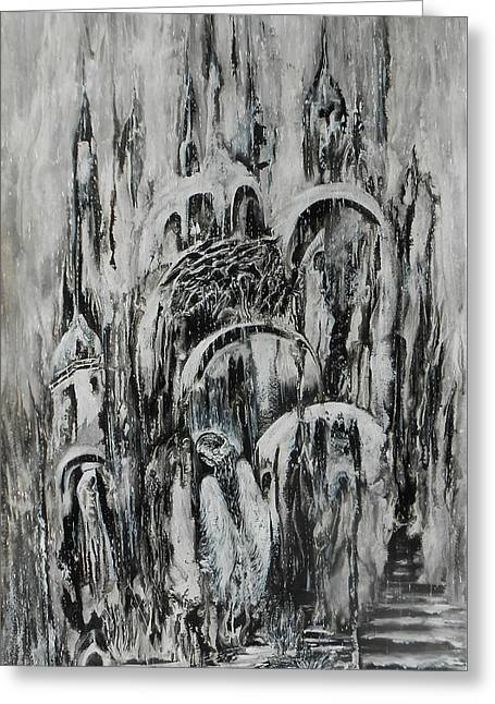Original Abstract Black And White Painting The Return Of The Angel  Greeting Card by Natalya Zhdanova