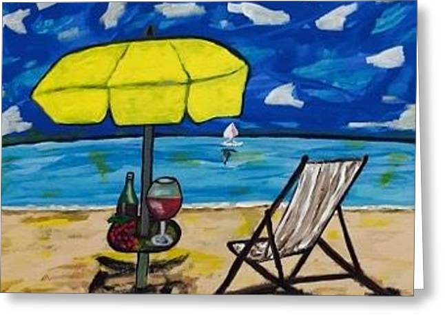 Original Acrylic Painting On Canvas. Beach Painting Greeting Card