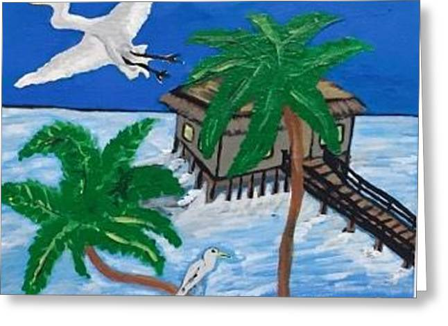 Original Acrylic Painting On Canvas. Cabana Hutt Over The Water. Greeting Card