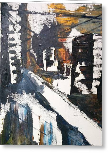 Original Art - Abstract Oil Painting - 'busy City' By Fiona Wade Greeting Card by Fiona Wade