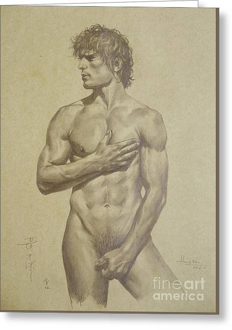 Original Artwork Drawing Sketch Male Nude Man On Brown Paper#16-6-16-03 Greeting Card by Hongtao Huang