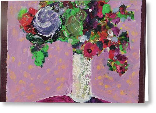 Original Bouquetaday Floral Painting 12x12 On Canvas, By Elaine Elliott, 59.00 Incl. Shipping Greeting Card by Elaine Elliott