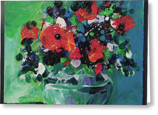 Original Bouquetaday Floral Painting By Elaine Elliott, Blues And Greens, 12x12, 59.00 Incl. Shippin Greeting Card by Elaine Elliott