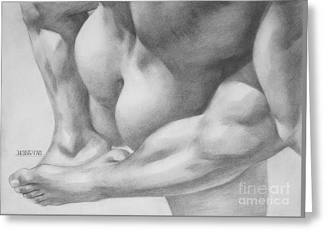 Original Charcoal Drawing Art Gay Interest Men  On Paper #16-3-11 Greeting Card