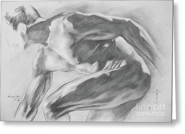 Original Charcoal Drawing Art Male Nude  On Paper #16-3-10-11 Greeting Card by Hongtao Huang