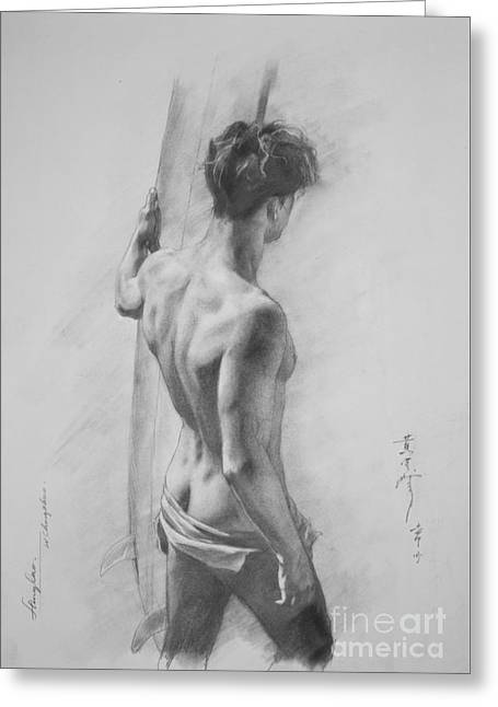 Original Charcoal Drawing Art Male Nude  On Paper #16-3-11-12 Greeting Card