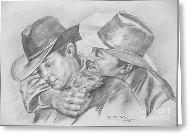 Original Charcoal Drawing Art Portrait  Of Cowboys On Paper #16-3-18-01 Greeting Card by Hongtao Huang